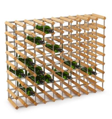 Traditional Wine Racks: 90 flasker saml-selv, fyrretræ i farven 'Lys Eg'